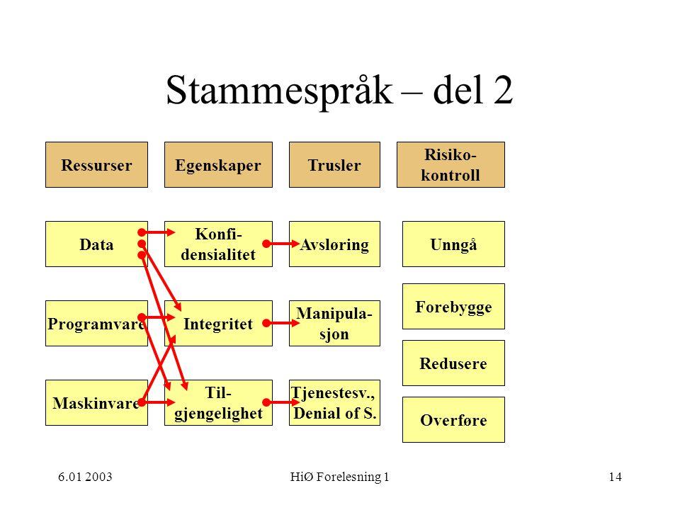 6.01 2003HiØ Forelesning 114 Stammespråk – del 2 Ressurser Risiko- kontroll TruslerEgenskaper Data Programvare Maskinvare Til- gjengelighet Integritet