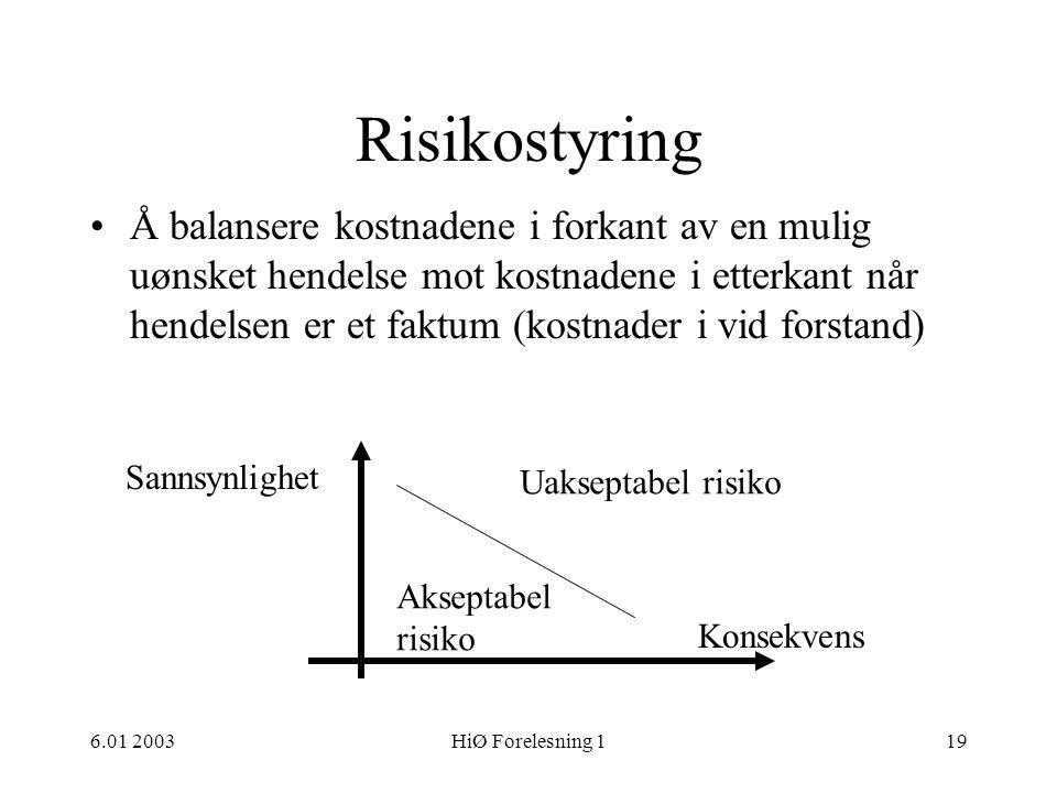 6.01 2003HiØ Forelesning 119 Risikostyring •Å balansere kostnadene i forkant av en mulig uønsket hendelse mot kostnadene i etterkant når hendelsen er