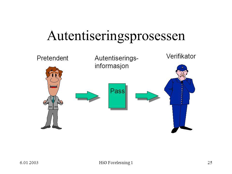 6.01 2003HiØ Forelesning 125 Autentiseringsprosessen Pass Pretendent Verifikator Autentiserings- informasjon
