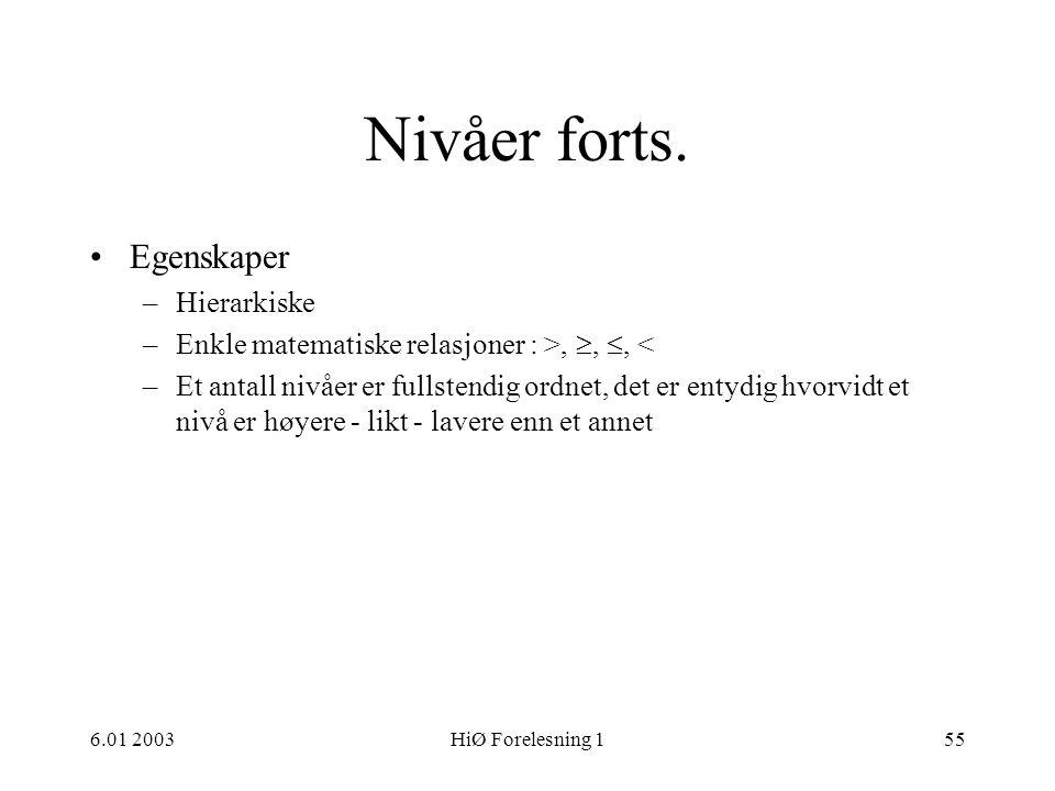 6.01 2003HiØ Forelesning 155 Nivåer forts. •Egenskaper –Hierarkiske –Enkle matematiske relasjoner : >, , , < –Et antall nivåer er fullstendig ordnet