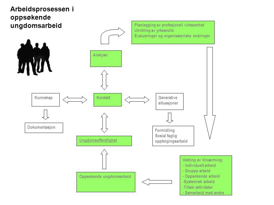 Ungdomsoffentlighet Oppsøkende ungdomsarbeid KunnskapKontaktGenerative situasjoner Analyse Planlegging av profesjonell virksomhet Utvikling av yrkesrolle Evalueringer og organisatoriske endringer Vekting av tilnærming: - Individuelt arbeid - Gruppe arbeid - Oppsøkende arbeid - Systemisk arbeid - Tiltak/ aktiviteter - Samarbeid med andre Dokumentasjon Formidling Sosial faglig oppfølgingsarbeid Arbeidsprosessen i oppsøkende ungdomsarbeid