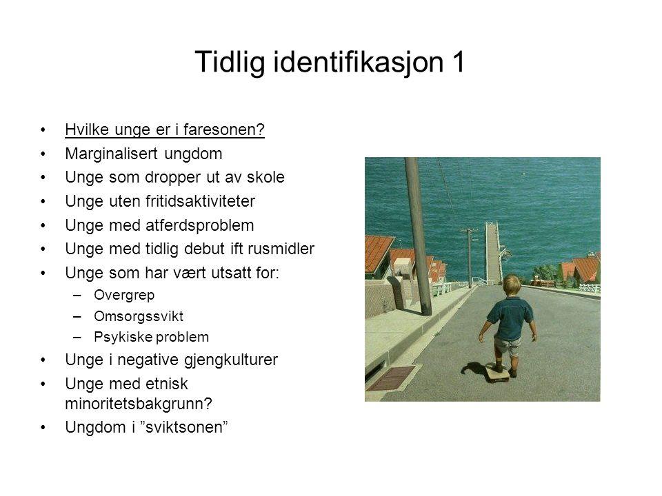 Tidlig identifikasjon 1 •Hvilke unge er i faresonen.