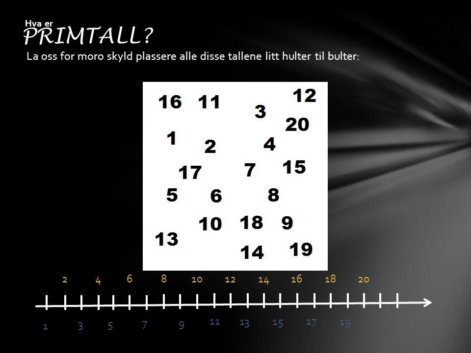 La oss for moro skyld plassere alle disse tallene litt hulter til bulter: PRIMTALL? Hva er 2468101214161820 1 35 79 11 1315 17 19