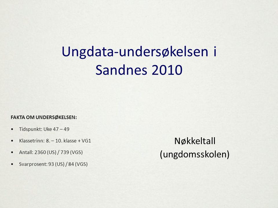 Ungdata-undersøkelsen i Sandnes 2010 Nøkkeltall (ungdomsskolen) FAKTA OM UNDERSØKELSEN: •Tidspunkt: Uke 47 – 49 •Klassetrinn: 8. – 10. klasse + VG1 •A