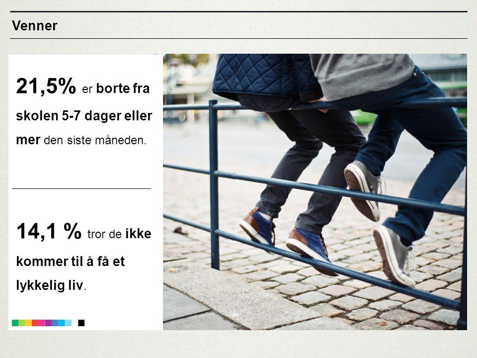 21,5% er borte fra skolen 5-7 dager eller mer den siste måneden. 14,1 % tror de ikke kommer til å få et lykkelig liv. Venner