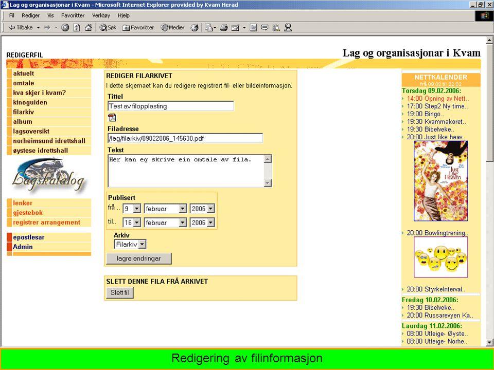 Redigering av filinformasjon