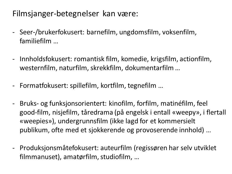 Filmsjanger-betegnelser kan være: -Seer-/brukerfokusert: barnefilm, ungdomsfilm, voksenfilm, familiefilm … -Innholdsfokusert: romantisk film, komedie,