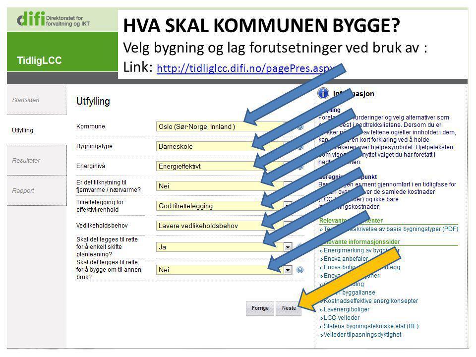 HVA SKAL KOMMUNEN BYGGE? Velg bygning og lag forutsetninger ved bruk av : Link: http://tidliglcc.difi.no/pagePres.aspx http://tidliglcc.difi.no/pagePr