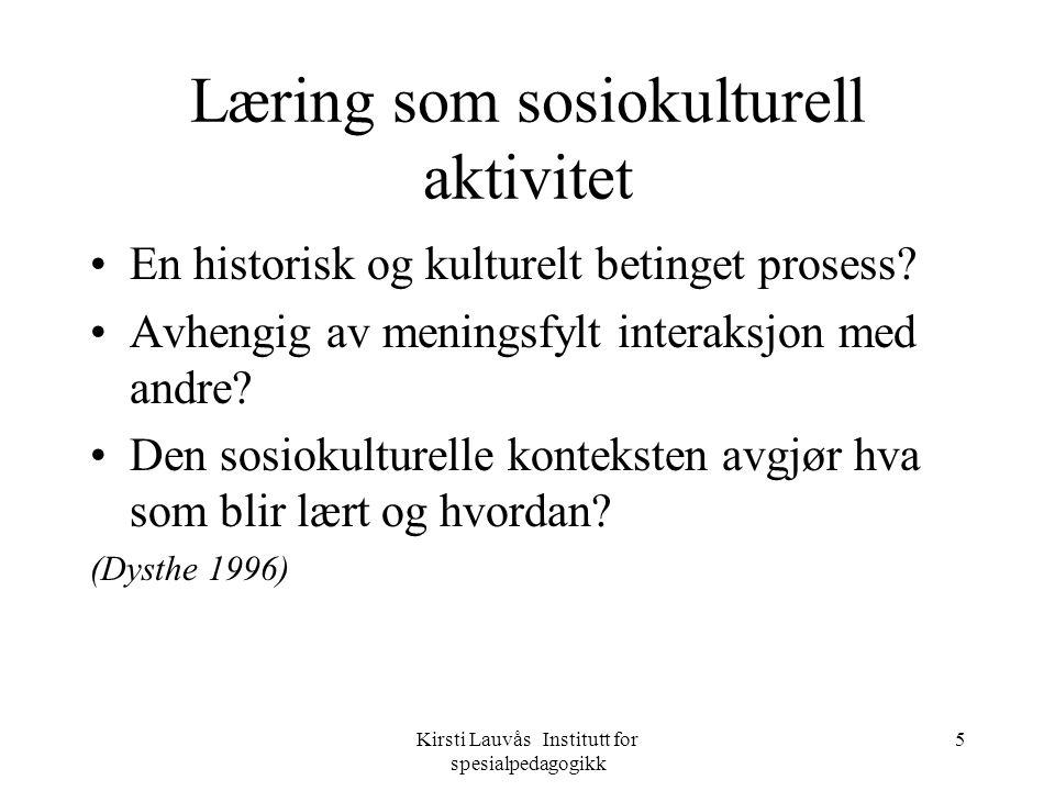 Kirsti Lauvås Institutt for spesialpedagogikk 16 Refleksjon reflection in action reflection on action Bevisstgjøring er en konsekvens og en effekt av refleksjon.