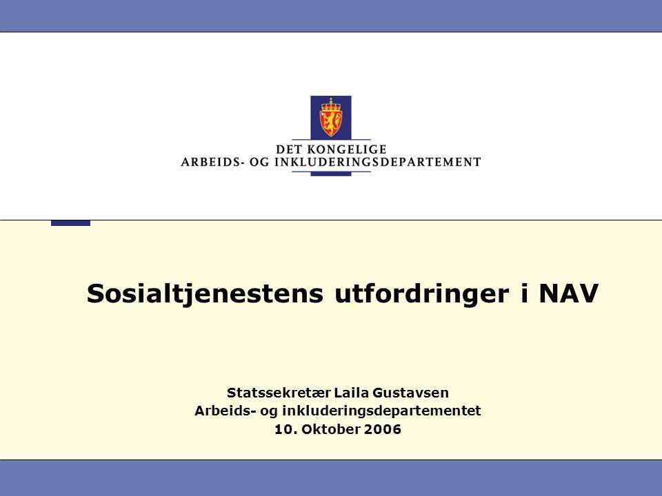 Sosialtjenestens utfordringer i NAV Statssekretær Laila Gustavsen Arbeids- og inkluderingsdepartementet 10. Oktober 2006