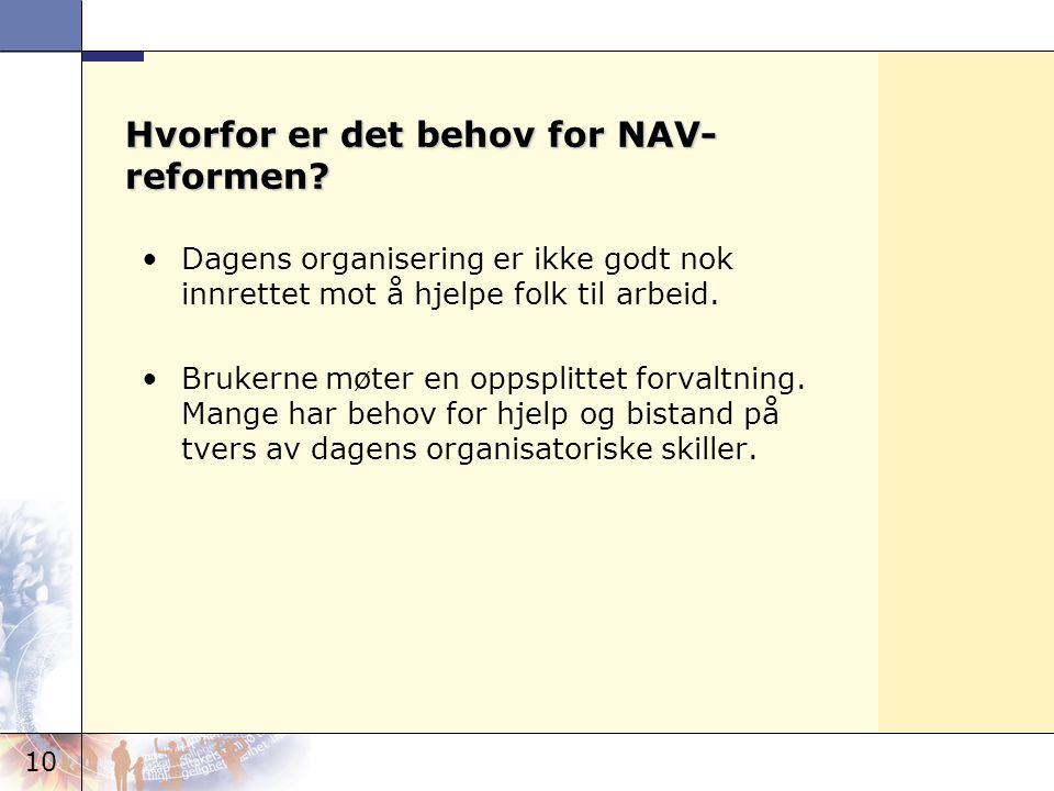 10 Hvorfor er det behov for NAV- reformen? •Dagens organisering er ikke godt nok innrettet mot å hjelpe folk til arbeid. •Brukerne møter en oppsplitte