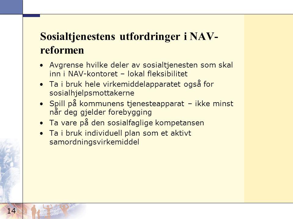 14 Sosialtjenestens utfordringer i NAV- reformen •Avgrense hvilke deler av sosialtjenesten som skal inn i NAV-kontoret – lokal fleksibilitet •Ta i bru