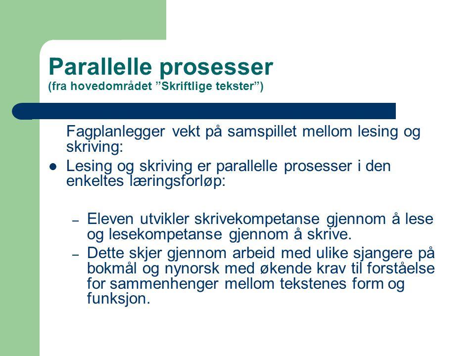 """Parallelle prosesser (fra hovedområdet """"Skriftlige tekster"""") Fagplanlegger vekt på samspillet mellom lesing og skriving:  Lesing og skriving er paral"""