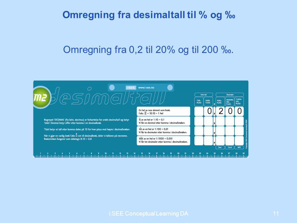 11i:SEE Conceptual Learning DA Omregning fra desimaltall til % og ‰ 2000 Omregning fra 0,2 til 20% og til 200 ‰.