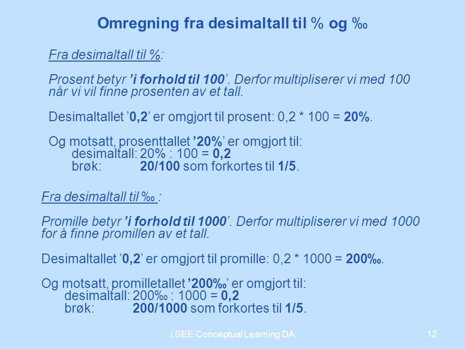 12i:SEE Conceptual Learning DA Omregning fra desimaltall til % og ‰ Fra desimaltall til %: Prosent betyr 'i forhold til 100'. Derfor multipliserer vi