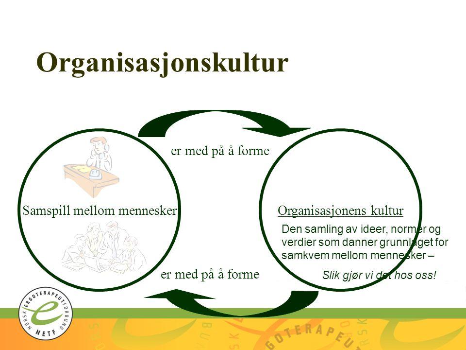 Organisasjonskultur Organisasjonens kulturSamspill mellom mennesker er med på å forme Den samling av ideer, normer og verdier som danner grunnlaget fo