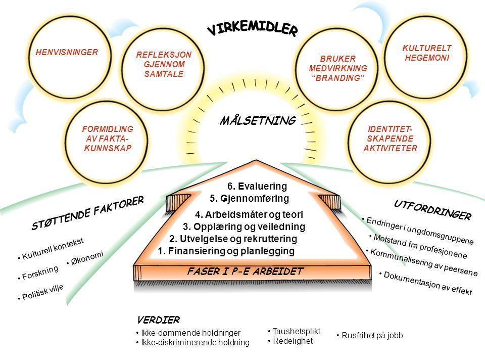 STØTTENDE FAKTORER UTFORDRINGER • Endringer i ungdomsgruppene VERDIER 2. Utvelgelse og rekruttering 1. Finansiering og planlegging 3. Opplæring og vei