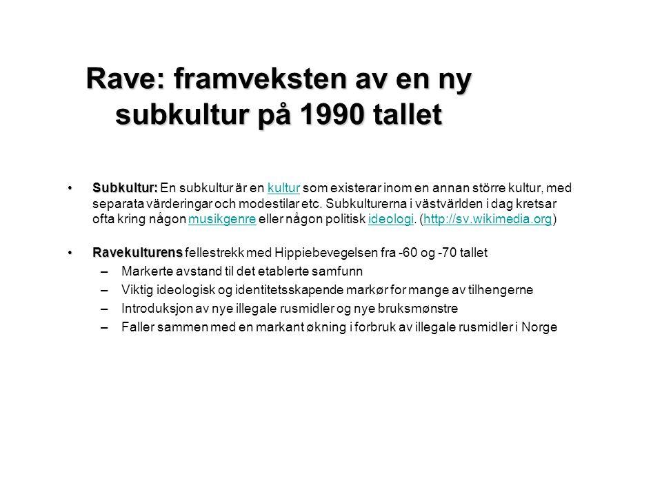 Ungdomskulturelle strømninger og bruk av rusmidler Prosentandel av ungdom i alderen 15-20 år i Oslo som noen gang har brukt forskjellige narkotiske stoffer 1970 - 2003 (treårig glidende gjennomsnitt).