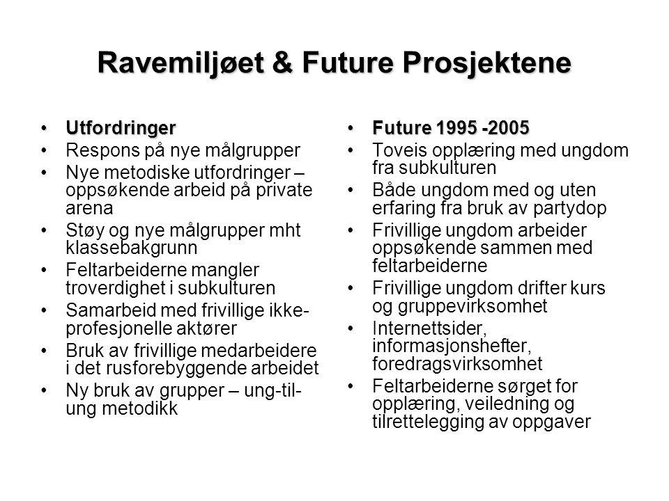 Ravemiljøet & Future Prosjektene •Utfordringer •Respons på nye målgrupper •Nye metodiske utfordringer – oppsøkende arbeid på private arena •Støy og ny