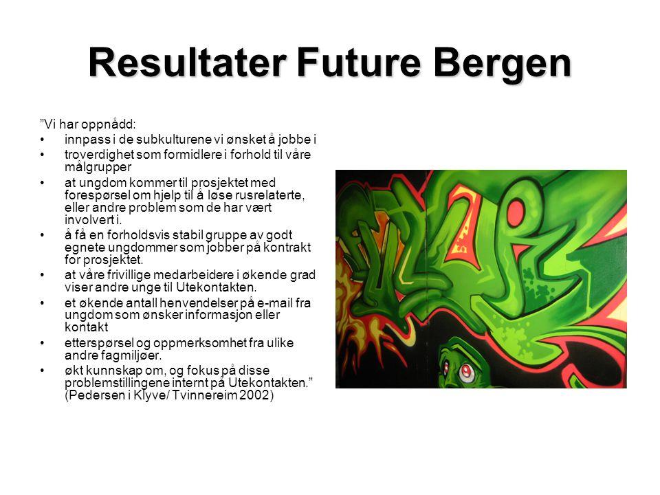 """Resultater Future Bergen """"Vi har oppnådd: •innpass i de subkulturene vi ønsket å jobbe i •troverdighet som formidlere i forhold til våre målgrupper •a"""