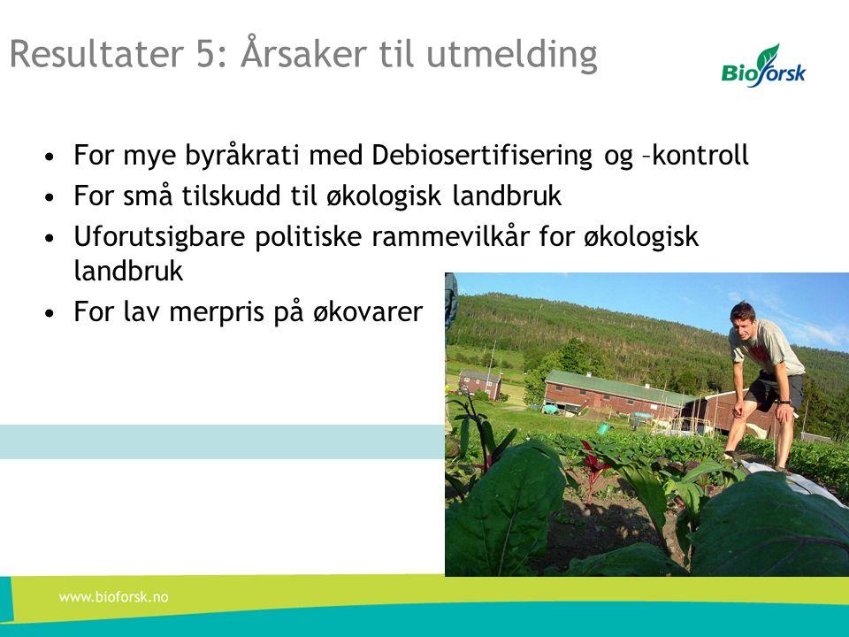 Resultater 5: Årsaker til utmelding •For mye byråkrati med Debiosertifisering og –kontroll •For små tilskudd til økologisk landbruk •Uforutsigbare politiske rammevilkår for økologisk landbruk •For lav merpris på økovarer