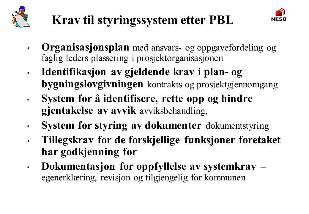Krav til styringssystem etter PBL • Organisasjonsplan med ansvars- og oppgavefordeling og faglig leders plassering i prosjektorganisasjonen • Identifi