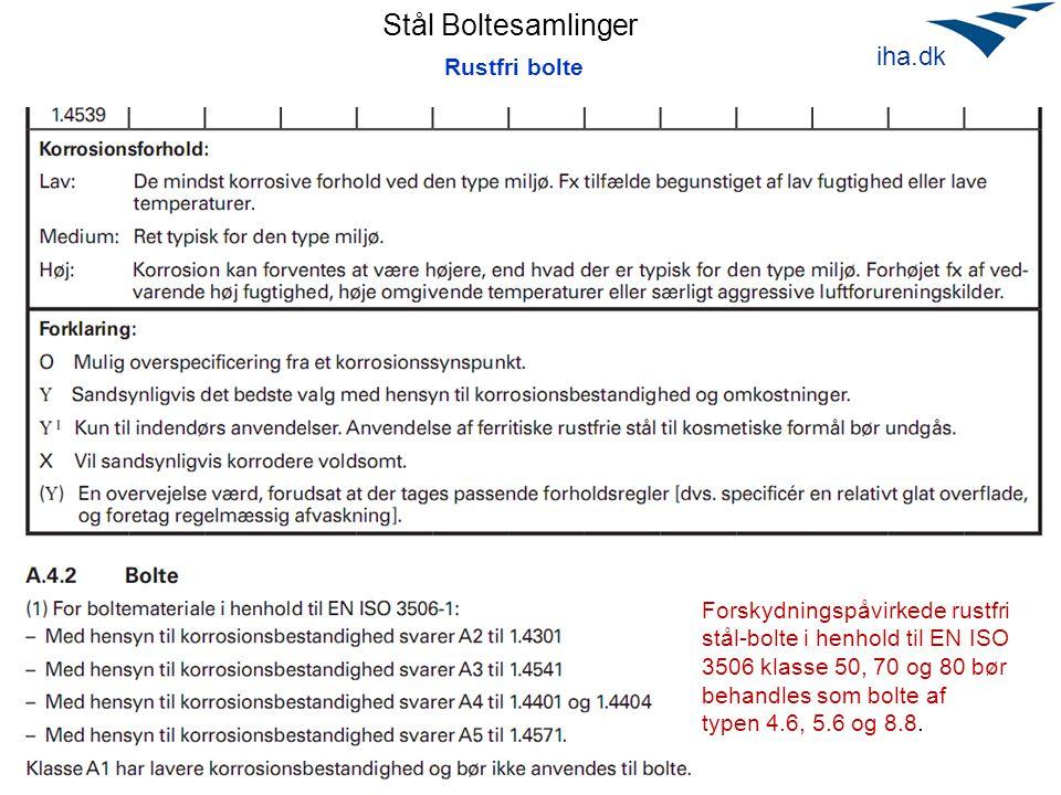 Stål Boltesamlinger April 2010 iha.dk Rustfri bolte Forskydningspåvirkede rustfri stål-bolte i henhold til EN ISO 3506 klasse 50, 70 og 80 bør behandl