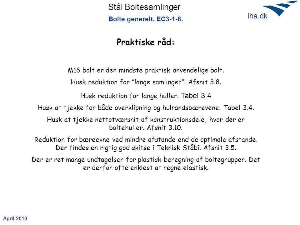 """Stål Boltesamlinger April 2010 iha.dk Bolte generelt. EC3-1-8. Praktiske råd: M16 bolt er den mindste praktisk anvendelige bolt. Husk reduktion for """"l"""