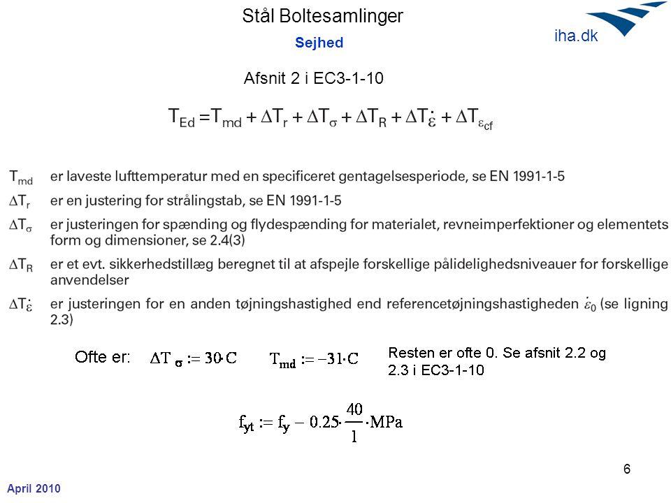 Stål Boltesamlinger April 2010 iha.dk 6 Sejhed Afsnit 2 i EC3-1-10