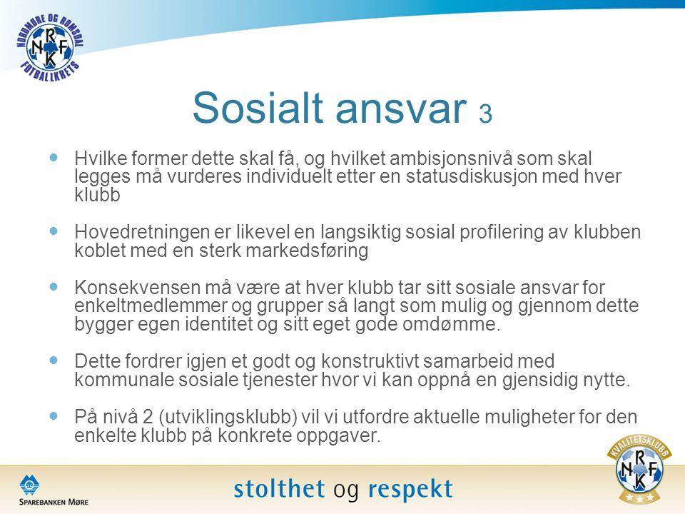 Sosialt ansvar 3  Hvilke former dette skal få, og hvilket ambisjonsnivå som skal legges må vurderes individuelt etter en statusdiskusjon med hver klu