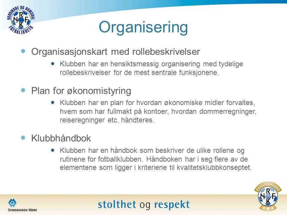 Organisering  Organisasjonskart med rollebeskrivelser  Klubben har en hensiktsmessig organisering med tydelige rollebeskrivelser for de mest sentral