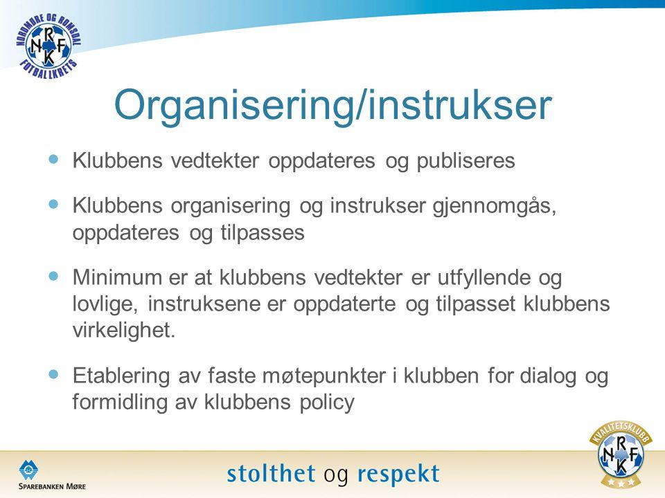 Organisering/instrukser  Klubbens vedtekter oppdateres og publiseres  Klubbens organisering og instrukser gjennomgås, oppdateres og tilpasses  Mini