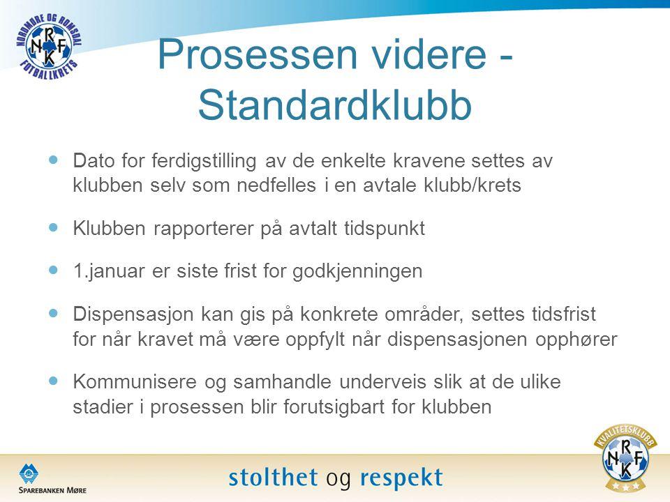 Prosessen videre - Standardklubb  Dato for ferdigstilling av de enkelte kravene settes av klubben selv som nedfelles i en avtale klubb/krets  Klubbe