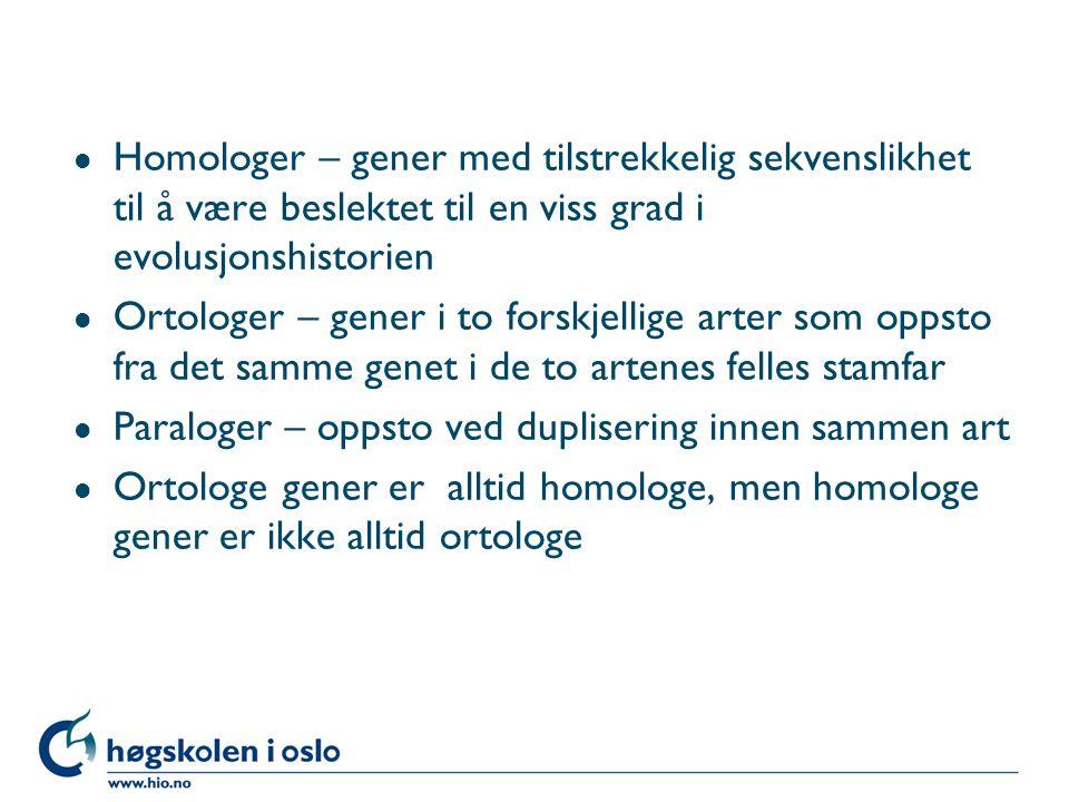 l Homologer – gener med tilstrekkelig sekvenslikhet til å være beslektet til en viss grad i evolusjonshistorien l Ortologer – gener i to forskjellige