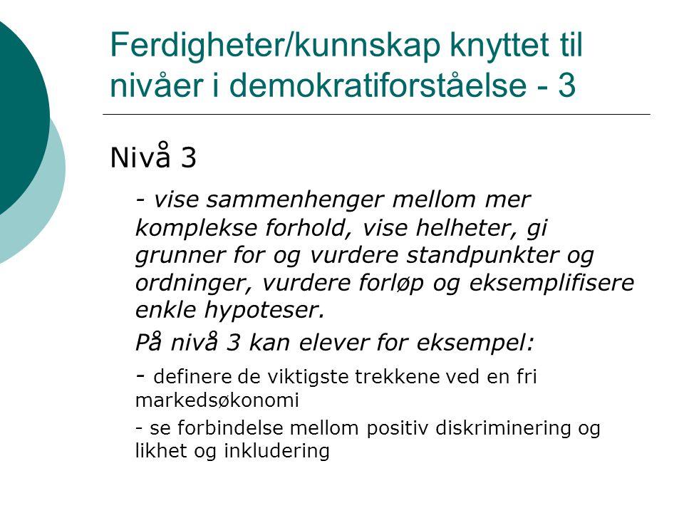 Ferdigheter/kunnskap knyttet til nivåer i demokratiforståelse - 4 Nivå 4 - formulere presise og detaljerte hypoteser, demonstrere strategisk tenkning, gi flersidige og relevante grunner for komplekse samfunnsordninger.