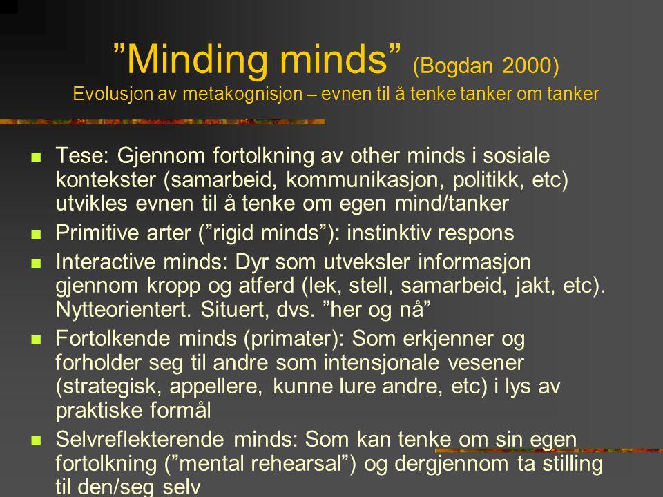 """""""Minding minds"""" (Bogdan 2000) Evolusjon av metakognisjon – evnen til å tenke tanker om tanker  Tese: Gjennom fortolkning av other minds i sosiale kon"""