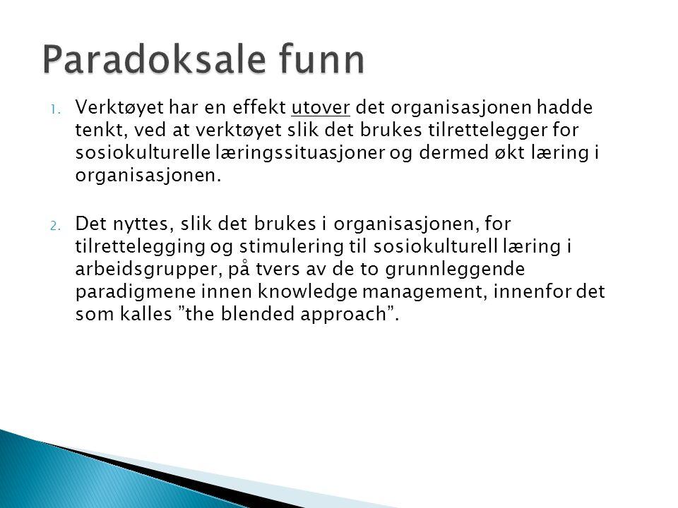 1. Verktøyet har en effekt utover det organisasjonen hadde tenkt, ved at verktøyet slik det brukes tilrettelegger for sosiokulturelle læringssituasjon