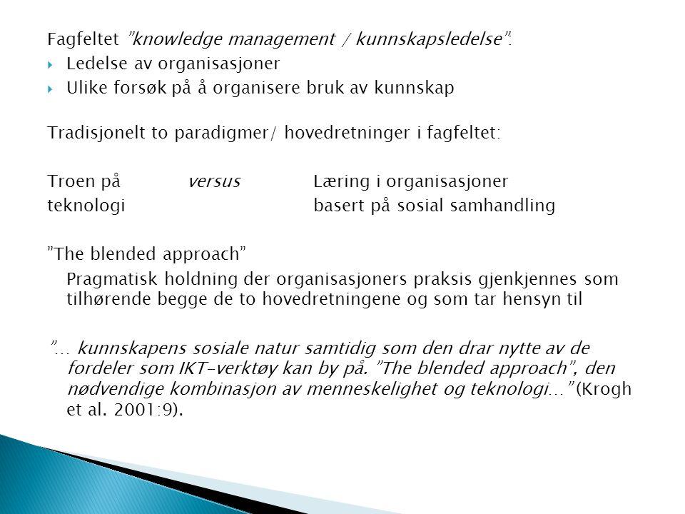 Fagfeltet knowledge management / kunnskapsledelse :  Ledelse av organisasjoner  Ulike forsøk på å organisere bruk av kunnskap Tradisjonelt to paradigmer/ hovedretninger i fagfeltet: Troen på versusLæring i organisasjoner teknologibasert på sosial samhandling The blended approach Pragmatisk holdning der organisasjoners praksis gjenkjennes som tilhørende begge de to hovedretningene og som tar hensyn til … kunnskapens sosiale natur samtidig som den drar nytte av de fordeler som IKT-verktøy kan by på.