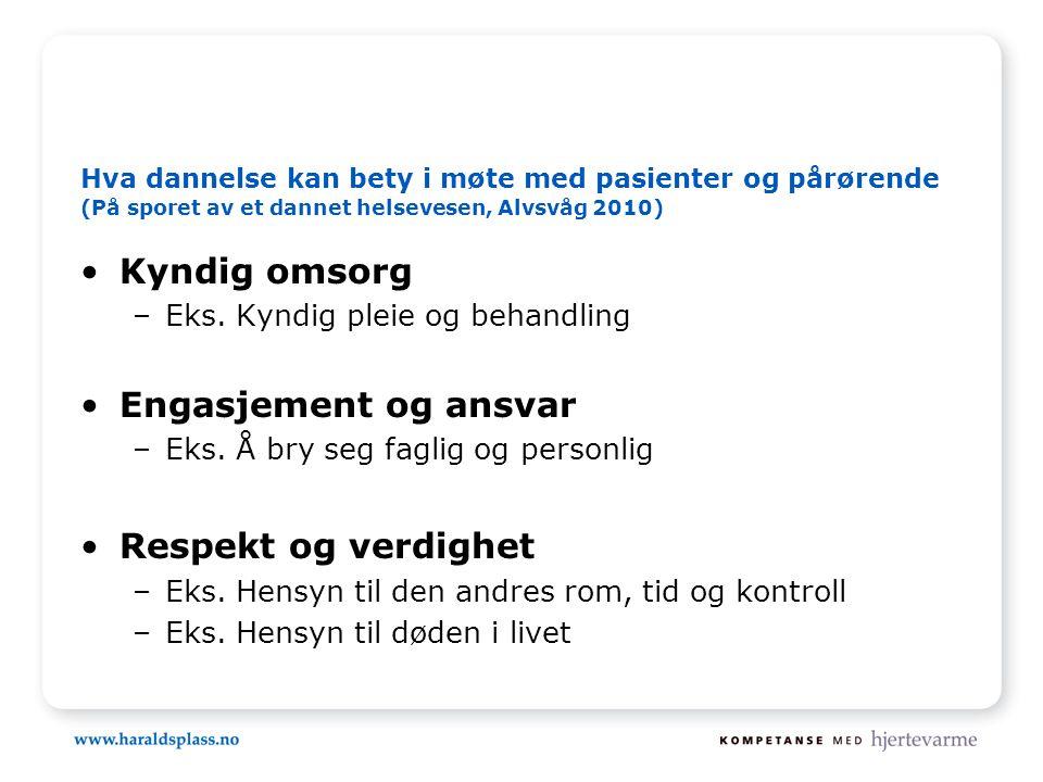 Hva dannelse kan bety i møte med pasienter og pårørende (På sporet av et dannet helsevesen, Alvsvåg 2010) •Kyndig omsorg –Eks.