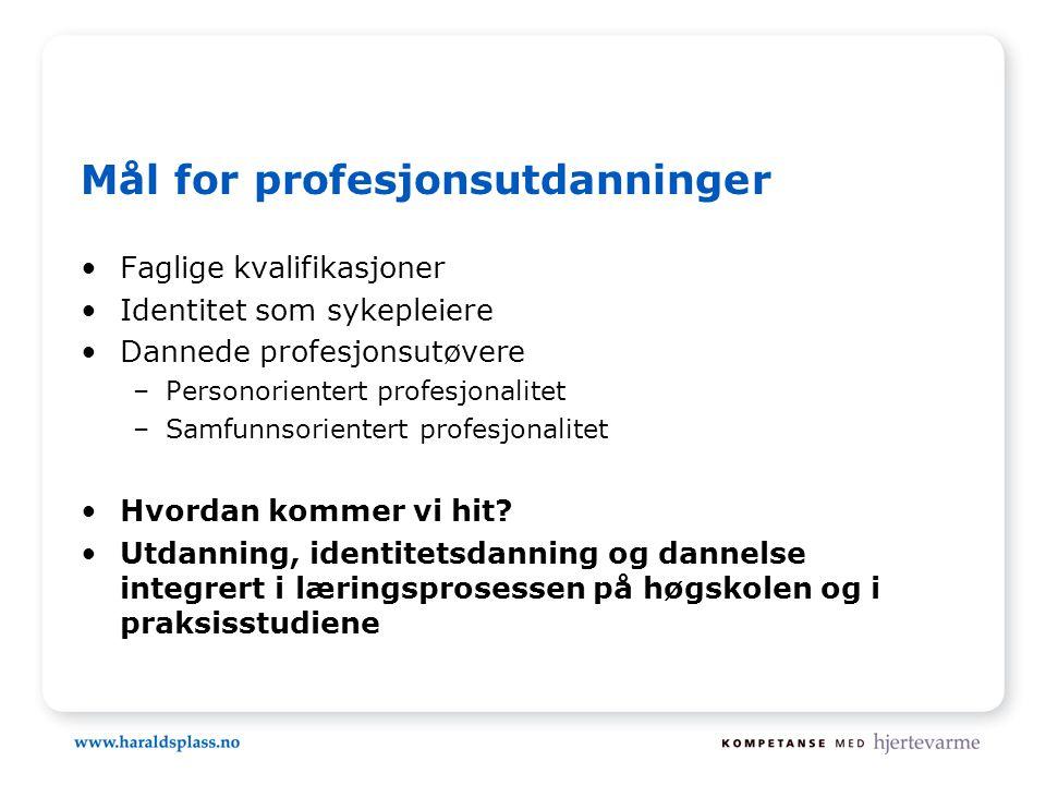 Mål for profesjonsutdanninger •Faglige kvalifikasjoner •Identitet som sykepleiere •Dannede profesjonsutøvere –Personorientert profesjonalitet –Samfunnsorientert profesjonalitet •Hvordan kommer vi hit.