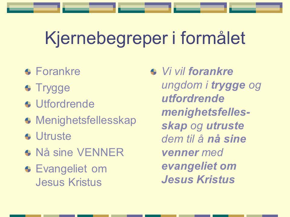 Kjernebegreper i formålet Forankre Trygge Utfordrende Menighetsfellesskap Utruste Nå sine VENNER Evangeliet om Jesus Kristus Vi vil forankre ungdom i trygge og utfordrende menighetsfelles- skap og utruste dem til å nå sine venner med evangeliet om Jesus Kristus