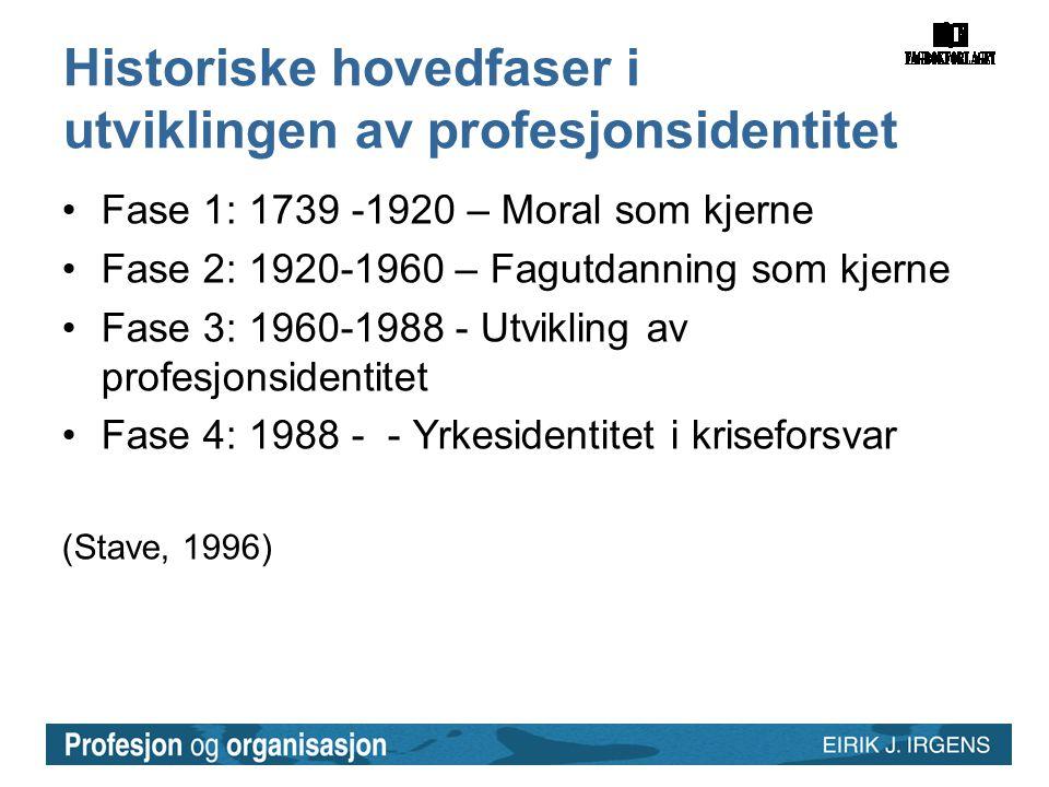 Historiske hovedfaser i utviklingen av profesjonsidentitet •Fase 1: 1739 -1920 – Moral som kjerne •Fase 2: 1920-1960 – Fagutdanning som kjerne •Fase 3