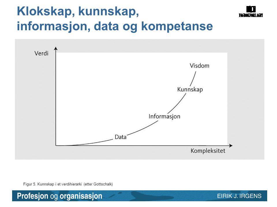 Figur 5. Kunnskap i et verdihierarki (etter Gottschalk) Klokskap, kunnskap, informasjon, data og kompetanse