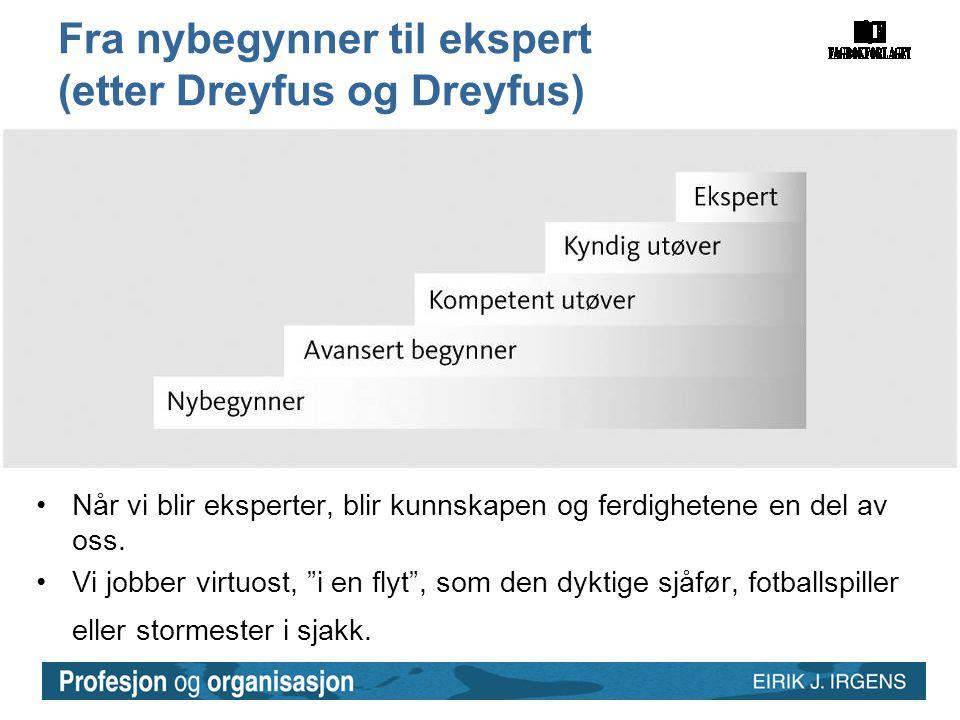 """Fra nybegynner til ekspert (etter Dreyfus og Dreyfus) •Når vi blir eksperter, blir kunnskapen og ferdighetene en del av oss. •Vi jobber virtuost, """"i e"""