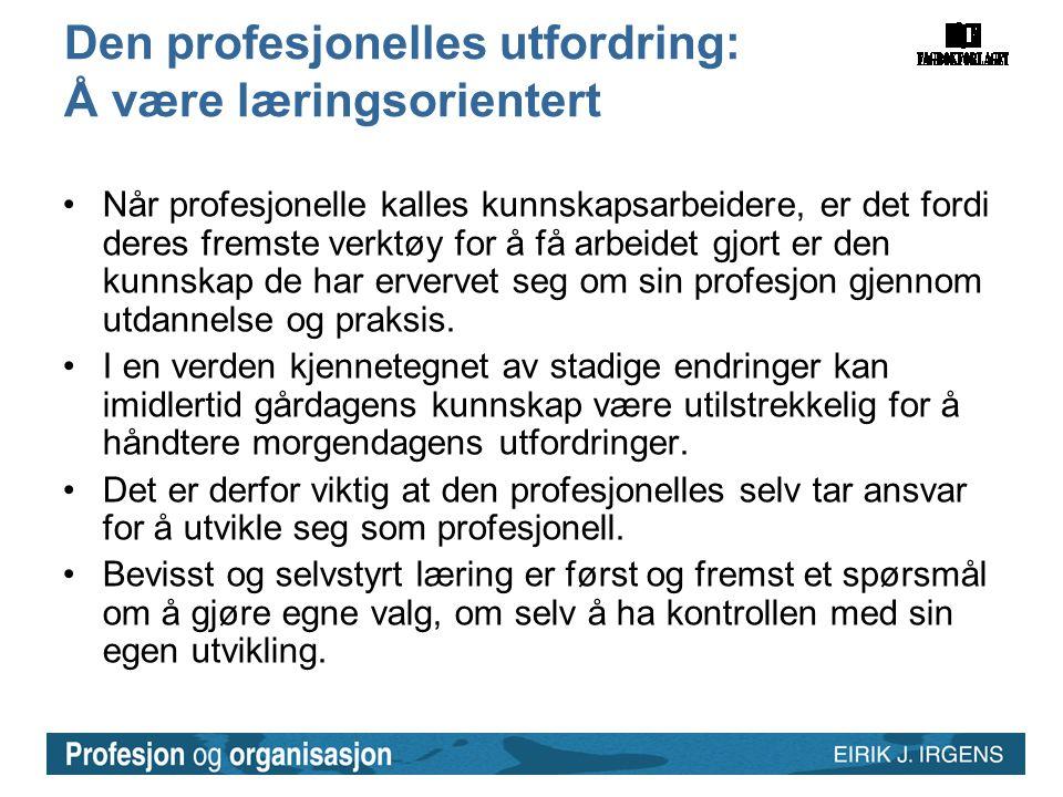 Den profesjonelles utfordring: Å være læringsorientert •Når profesjonelle kalles kunnskapsarbeidere, er det fordi deres fremste verktøy for å få arbei