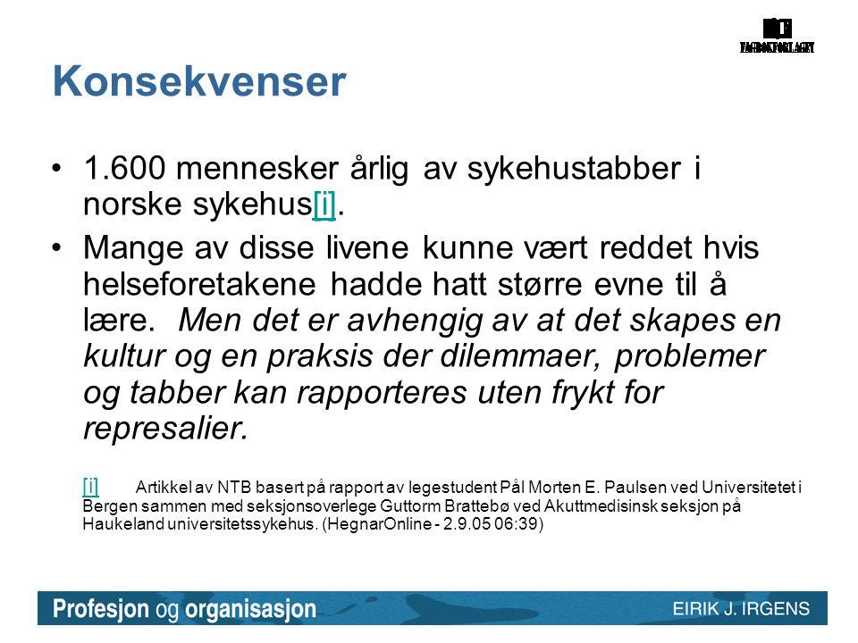 Konsekvenser •1.600 mennesker årlig av sykehustabber i norske sykehus[i].[i] •Mange av disse livene kunne vært reddet hvis helseforetakene hadde hatt