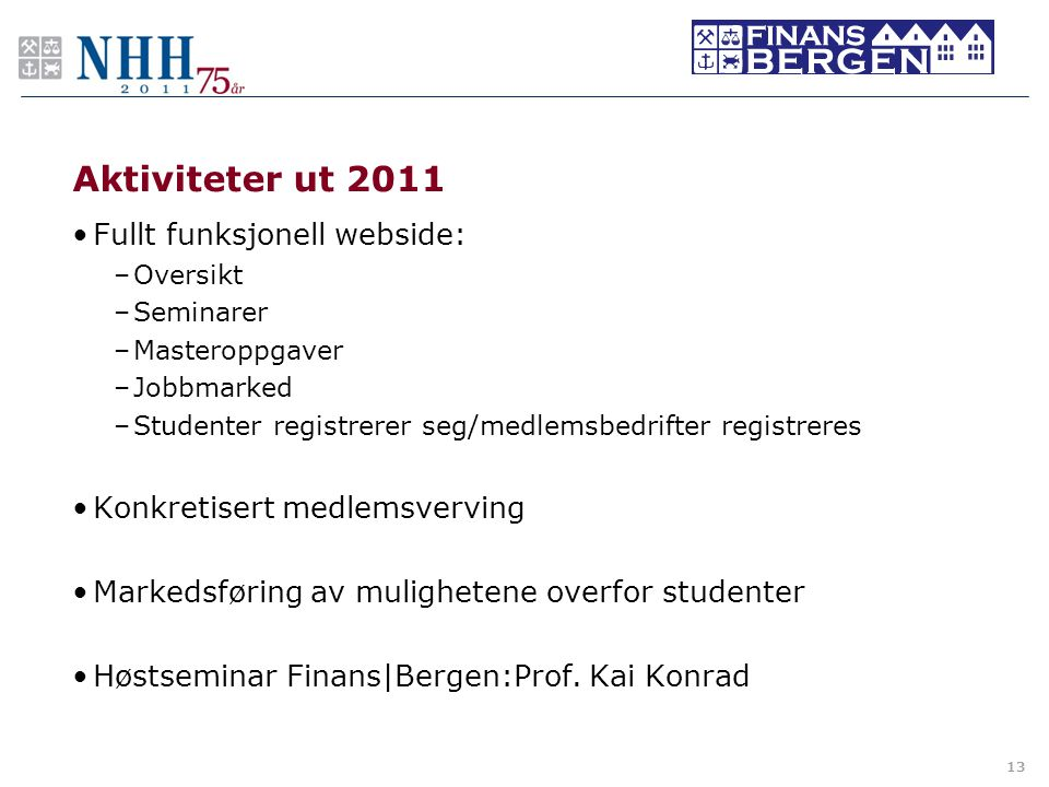 Aktiviteter ut 2011 •Fullt funksjonell webside: –Oversikt –Seminarer –Masteroppgaver –Jobbmarked –Studenter registrerer seg/medlemsbedrifter registrer