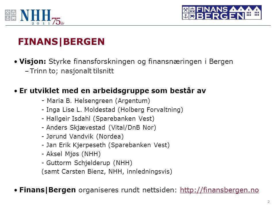 FINANS BERGEN •Visjon: Styrke finansforskningen og finansnæringen i Bergen –Trinn to; nasjonalt tilsnitt •Er utviklet med en arbeidsgruppe som består