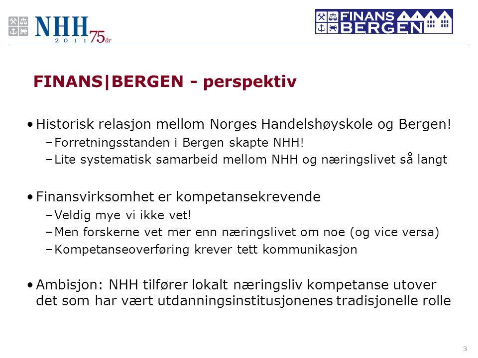 FINANS BERGEN - perspektiv •Historisk relasjon mellom Norges Handelshøyskole og Bergen! –Forretningsstanden i Bergen skapte NHH! –Lite systematisk sam