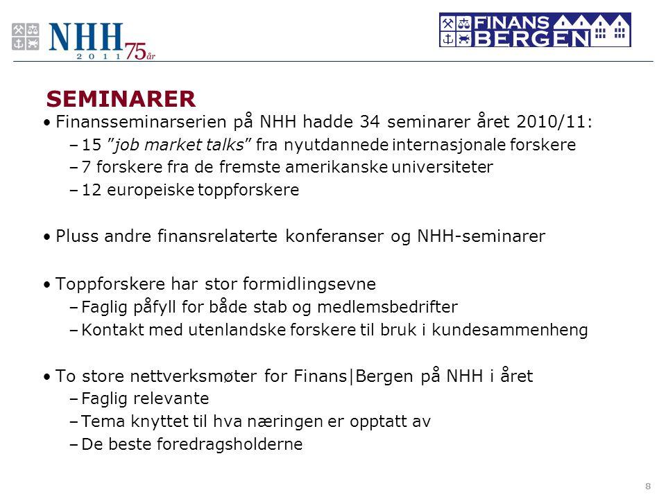 """SEMINARER •Finansseminarserien på NHH hadde 34 seminarer året 2010/11: –15 """"job market talks"""" fra nyutdannede internasjonale forskere –7 forskere fra"""